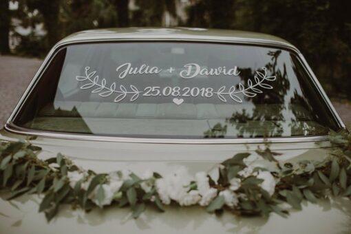 naklejki ślubne na auto
