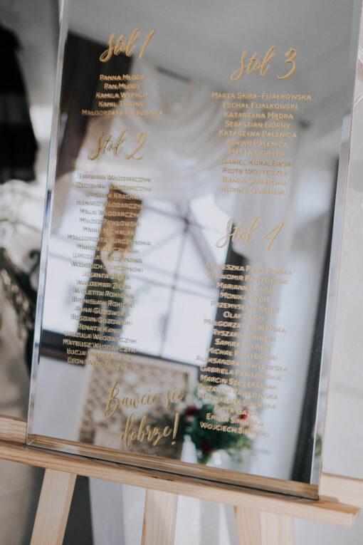 Naklejki ślubne - na lustro - plany stołów weselnych