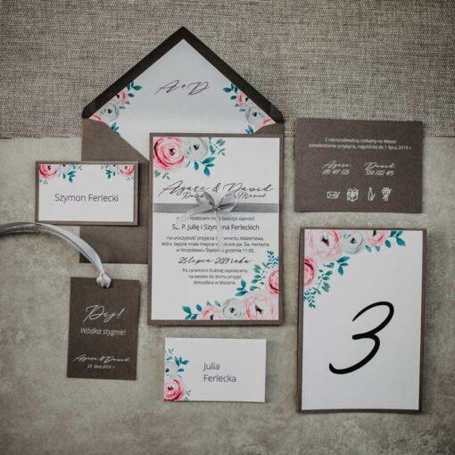 Zaproszenia ślubne eustoma