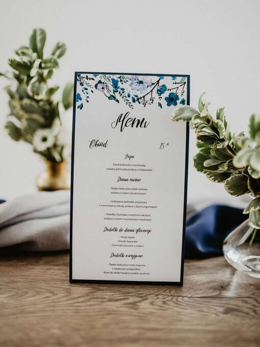Menu weselne navy blue