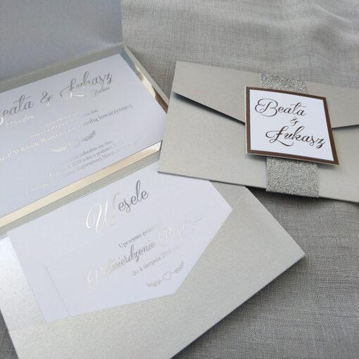Zaproszenia ślubne srebny folder