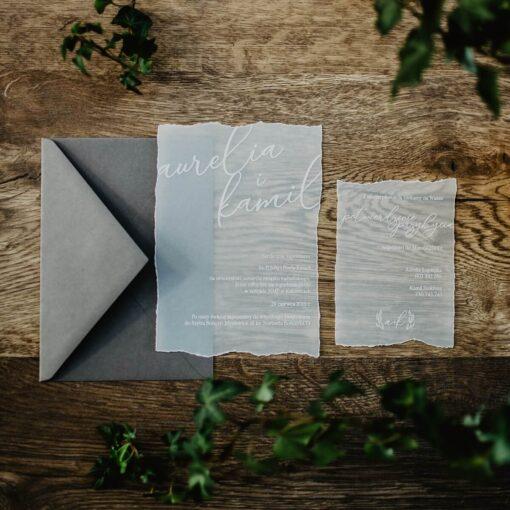 Zaproszenia ślubne biała kalka