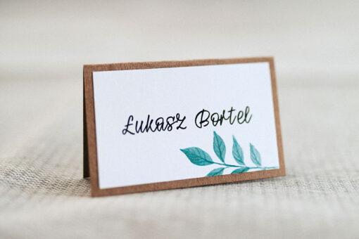 Winietka ślubna dla gości na wesele - wzór green z podkładem z kartonu eco