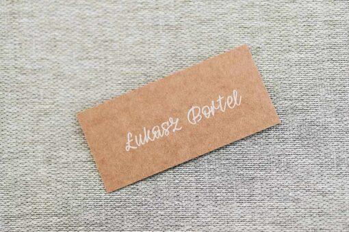 Winietka dla gości na wesele - wzór green płaska, drukowana na biało na papierze eco