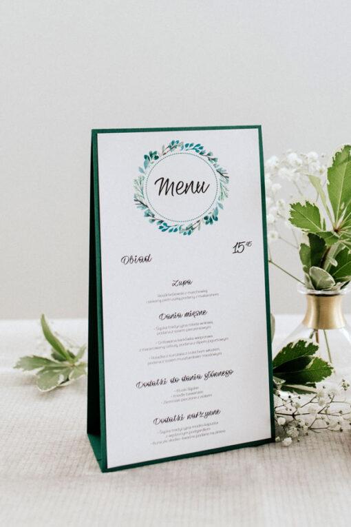 Menu weselne do postawienia na stół - wzór green