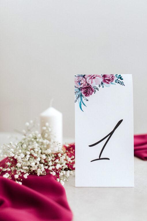 Numer na stół - wzór Fuksja - duży, papierowy do postawienia na stole weselnym