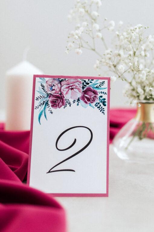Fuksja - numer stołu na wesele, wersja mniejsza