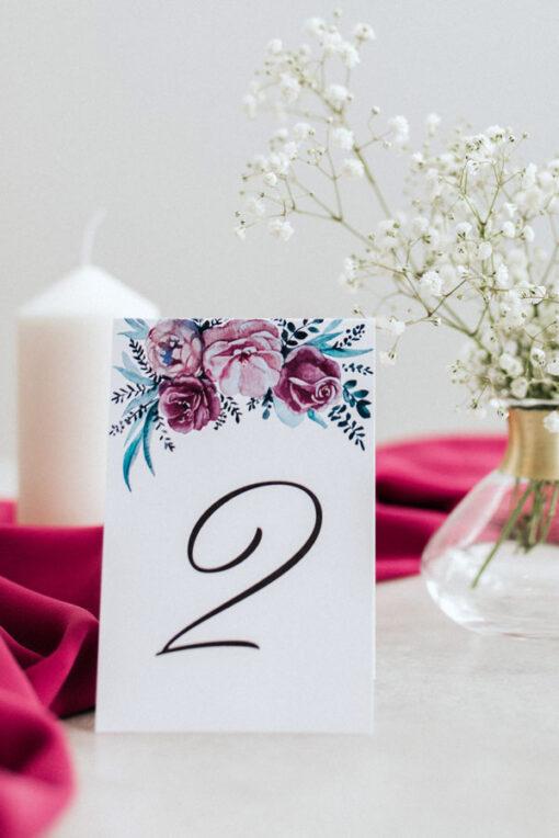 Mniejszy numer stołu na wesele - wzór Fuksja