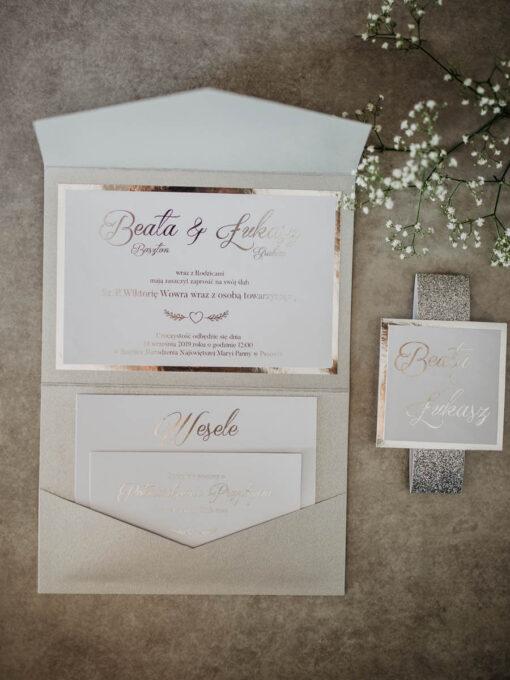 zaproszenie ślubne w formie folderka