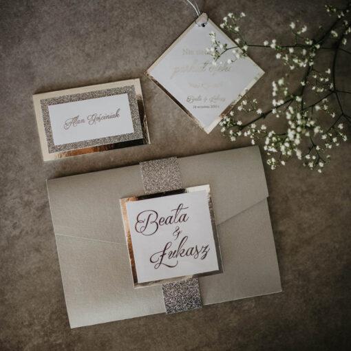 zaproszenie ślubne srebrny folder