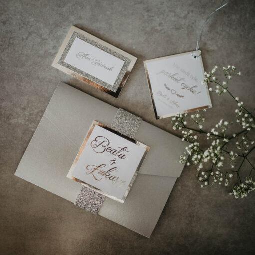 zaproszenie ślubne srebrny folderek
