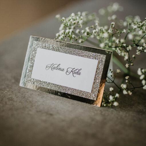 winietki na wesele srebrny folder