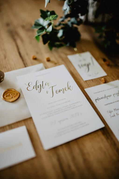 Zaproszenia ślubne proste złotko