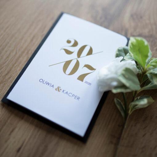 Zaproszenia ślubne czerń + biel + złoto