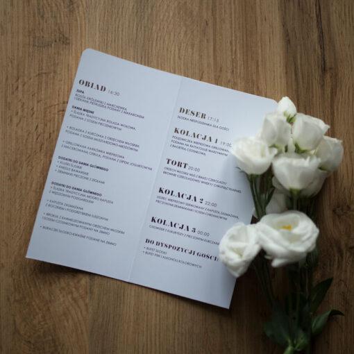 Menu weselne czerń + biel + złoto
