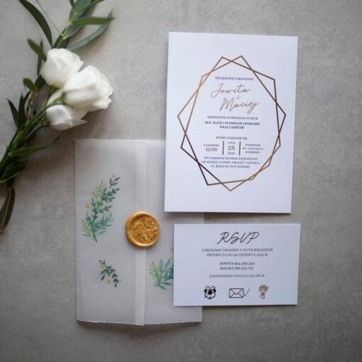 Zaproszenia ślubne szarpana kalka