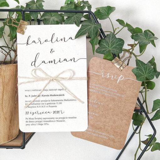 Zaproszenia na ślub kremowe + eco