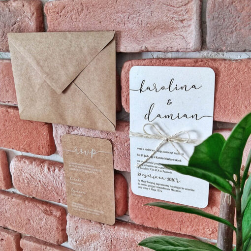 zaproszenie ślubne na papierze eco