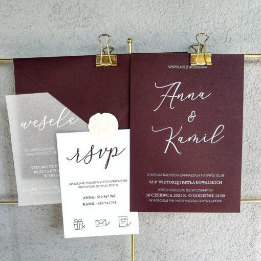 zaproszenie ślubne z białym drukiem