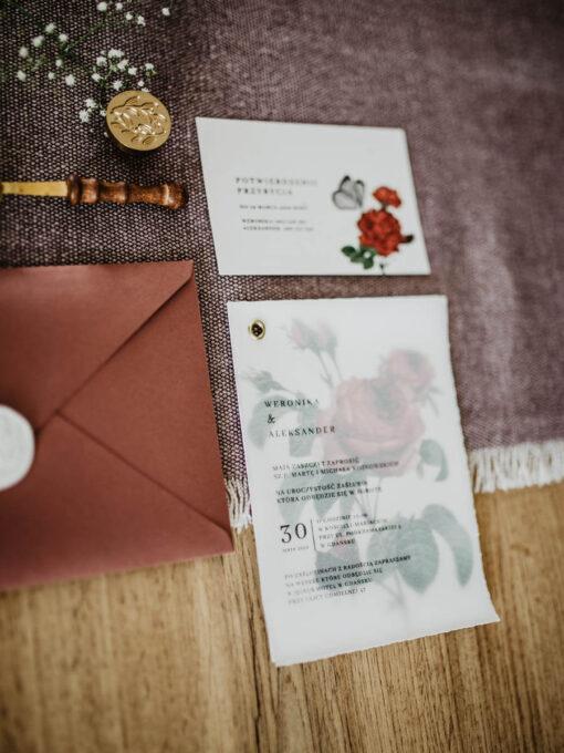zaproszenie ślubne różą plusk kalka