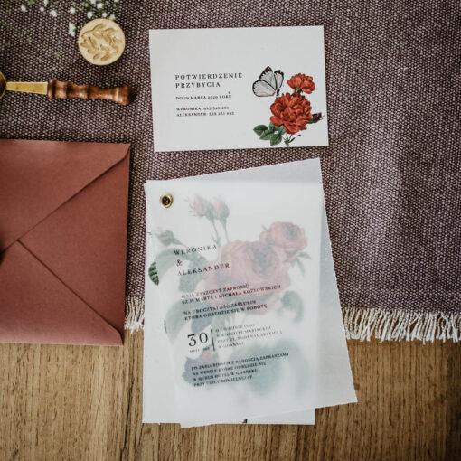 zaproszenie z różą i kalka połączone nitem