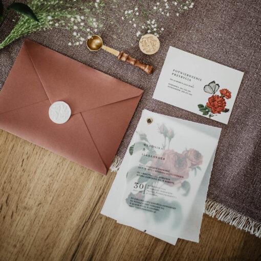 zaproszenie w stylu vintage z lakiem na kopercie