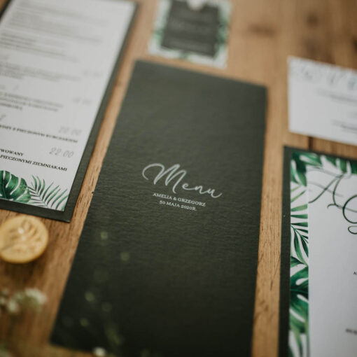 butelkowa zieleń menu weselne