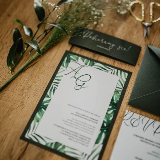 zaproszenie ślubne z liśćmi monstera
