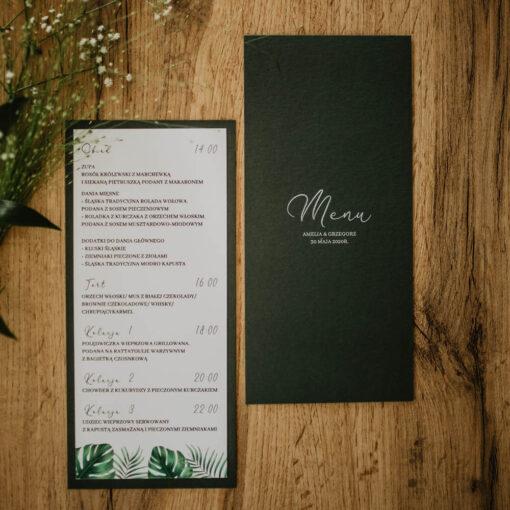 menu ślubne jungle