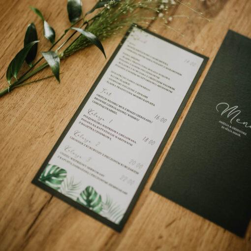 menu ślubne z liśćmi monstera