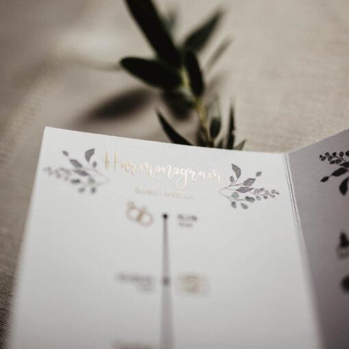 zaproszenie ślubne z harmonogramem