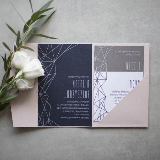 Zaproszenia weselne geometryczne