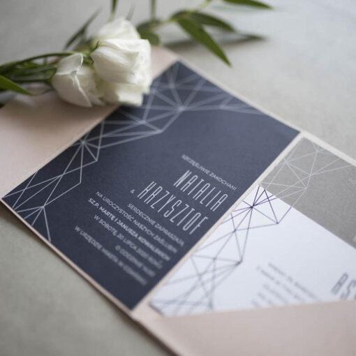 geometryczne zaproszenie ślubne
