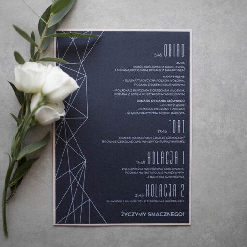 geometryczne menu weselne