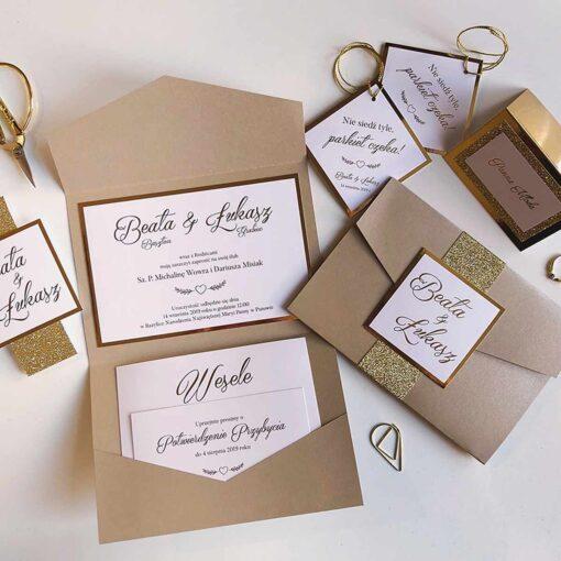 Zaproszenia na wesele folderek złoty