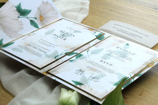 Zaproszenie ślubne ze złotym lusterkiem