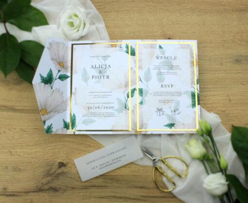 eleganckie zaproszenie ślubne w formie folderka