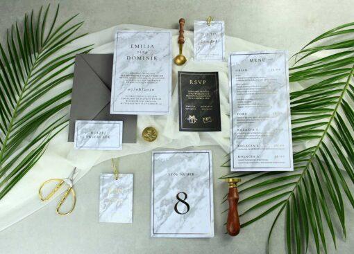 Marmurkowa papeteria ślubna