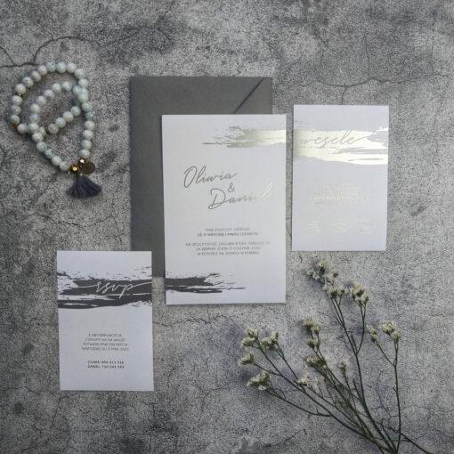 Srebrzone zaproszenie ślubne