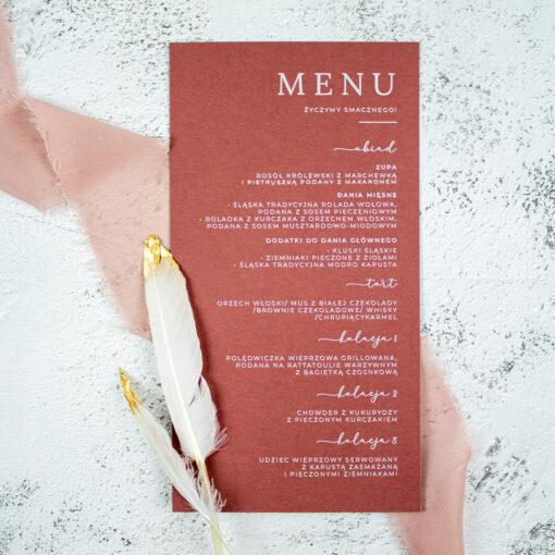 menu ślubne w odcieniach ciemnego różu