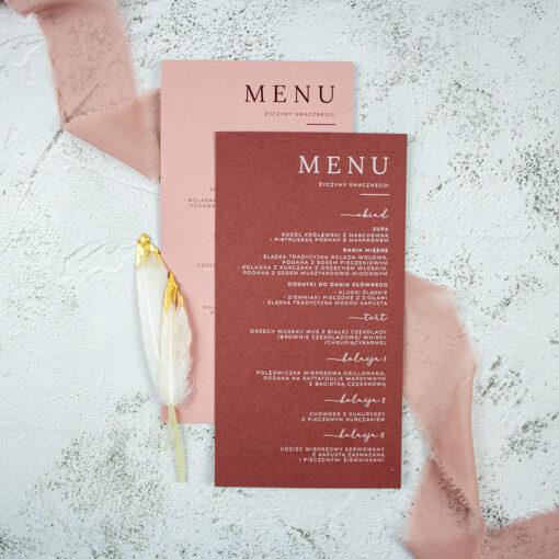 menu ślubne w dwóch odcieniach różu