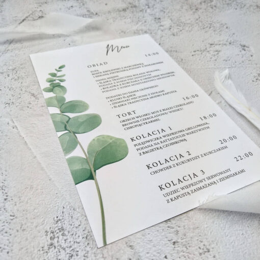 menu z motywem eukaliptusa