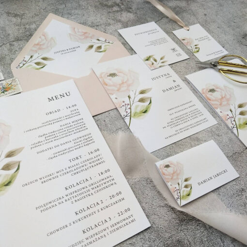 Papeteria ślubna z motywem pastelowej róży