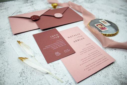 Zaproszenia ślubne w odcieniach różu