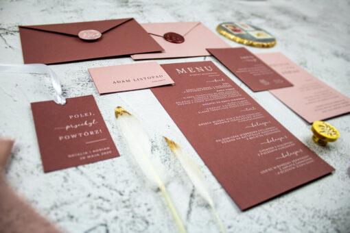 Papeteria ślubna w odcieniach różu
