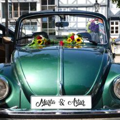 Tablica rejestracyjna z imionami na samochód ślubny