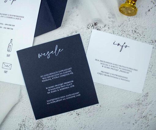Karta z informacją o weselu i noclegu