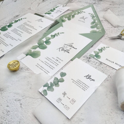 Papeteria ślubna z eukaliptusem