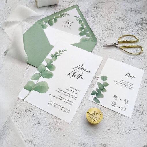 zaproszenie ślubne z motywem ekaliptusa