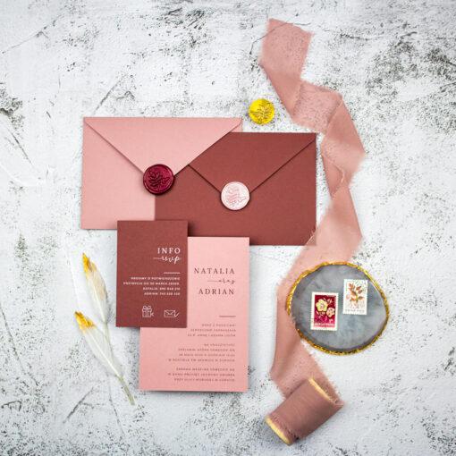 Zaproszenie ślubne w kolorze różu